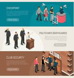 security isometric banners set vector image