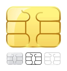 Sim card chip isolated on white vector image vector image