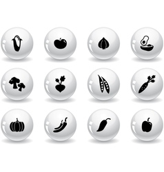 Web buttons vegetables icons vector image vector image