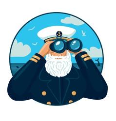 Captain with binoculars vector image