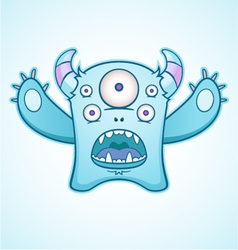 surprised blue monster vector image vector image
