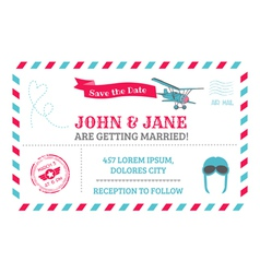 Wedding Invitation Card - Airplane Theme vector image