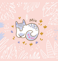 beautiful floral card with cartoon fox or cat in vector image