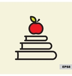 Book and red apple icon vector image