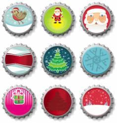 Christmas bottle caps buttons vector image