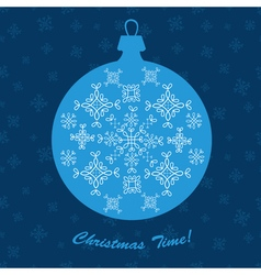 Christmas ornament ball new year decoration blue vector image