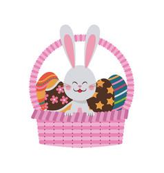 cute easter bunny basket egg celebration party vector image