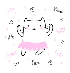 Cute hand drawn postcard with funny cat dressed vector