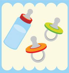 baby bottle and dummy vector image vector image