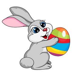 Cute rabbit holding ester egg vector image vector image