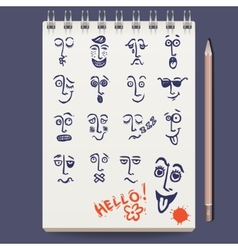 Faces Characters Sketch vector image vector image