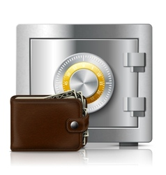 Leather wallet and safe with code lock vector image