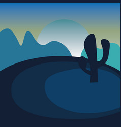 Night in desert landscape summer wild nature vector