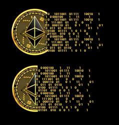 set of crypto currency ethereum golden symbols vector image vector image