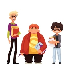 Set of isolated cartoon style nerds school boys vector image vector image