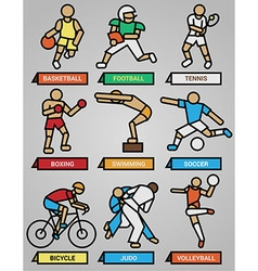 Sport and fitness icons set vector image vector image