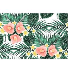 tropical pattern leaves plumeria camelia flowers vector image vector image