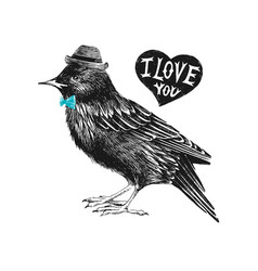 valentines day card with starling and heart vector image vector image