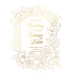 wedding invitation template rose peony narcissus vector image vector image