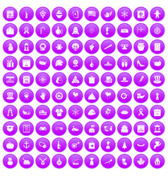 100 national holiday icons set purple vector