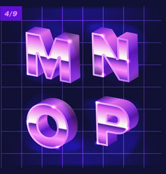 80 s retro alphabet font metallic effect type vector image