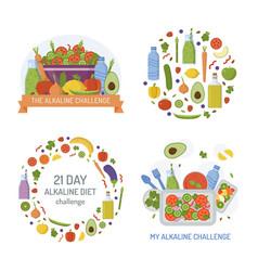 Alkaline diet logo set vector