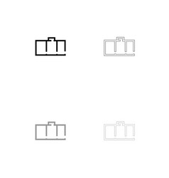 Apartment plan black and grey set icon vector