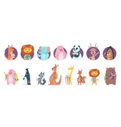back to school animal wild animals avatars read vector image