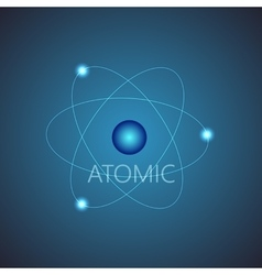Background with blue shining atom scheme vector image