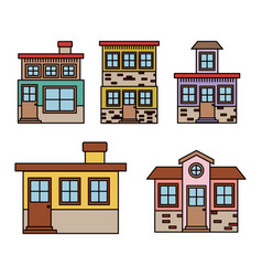 Background with colorful set of houses facades vector
