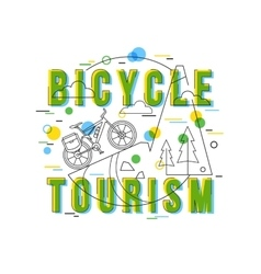 Bicycle Tourism Background with icons and vector image