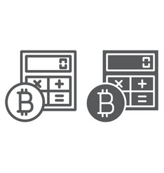 bitcoin calculator line and glyph icon vector image