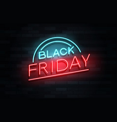 black friday neon text on brickwall vector image