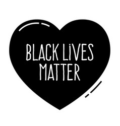 Black lives matter heart shape no to racismpolice vector