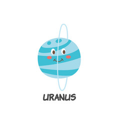 blue icon uranus a planet solar system flat vector image