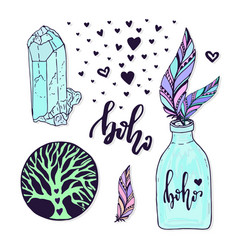 Boho style set with hand drawn creative vector