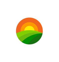 Bright farm logo icon design vector