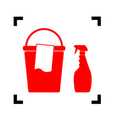 bucket and a rag with household chemical bottles vector image
