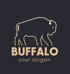 Buffalo logo element gold outline vector