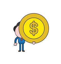 businessman character holding dollar money coin vector image