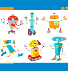 cartoon cheerful robots characters set vector image