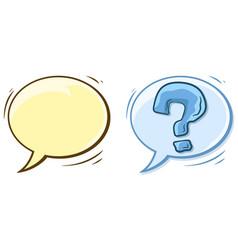 cartoon empty speech bubble and question mark vector image