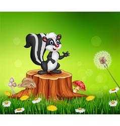Cartoon funny skunk on tree stump in summer vector