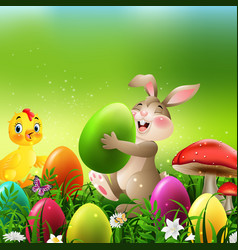 cartoon rabbit with easter eggs and baby chicken vector image