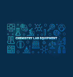 chemistry lab equipment blue outline banner vector image