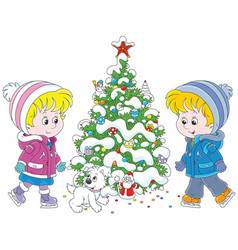 Children skating around a christmas tree vector