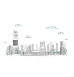 city street landscape view with buildings flat vector image