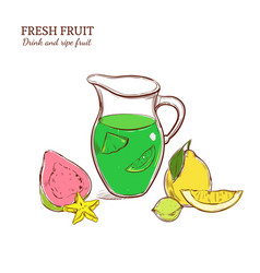Colored hand drawn exotic lemonade concept vector