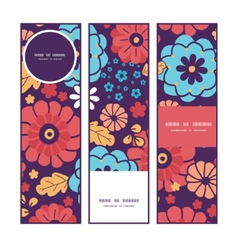 Colorful bouquet flowers vertical banners vector