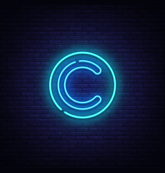 copyright neon sign copyrights design vector image